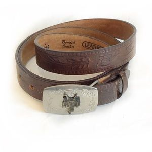 Vintage-Western Style Tooled Leather Belt